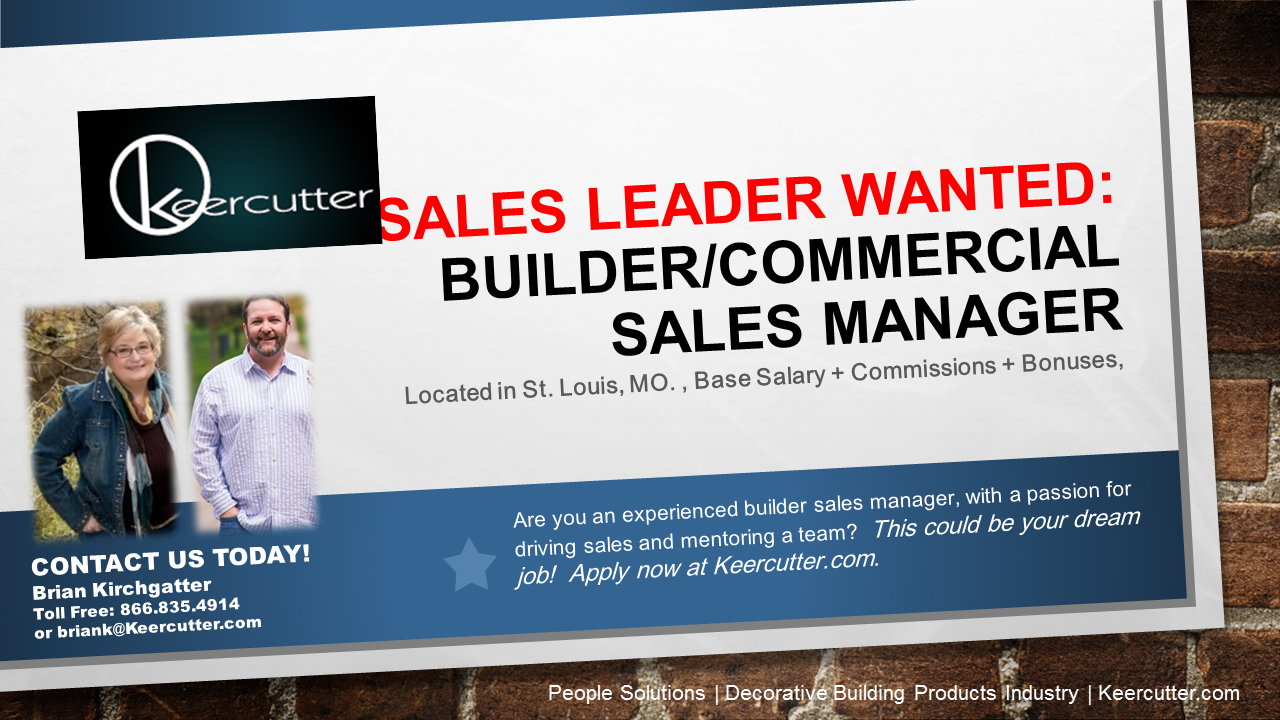 seeking builder  commercial sales manager